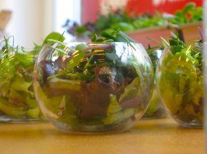 Detalle de ensaladas en mini-vaso