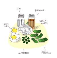 Sal, pimienta, Cebolla, Pepinillos, Alcaparras, Huevos Duros