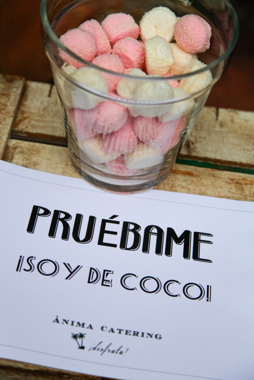 ¡Pruébame soy de coco! Candy bar by Ànima catering